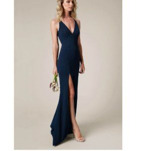 Dress the Population Navy Iris Slit Crepe Gown